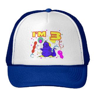 3ro Cumpleaños del dinosaurio del cumpleaños Gorras