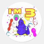 3ro Cumpleaños del dinosaurio del cumpleaños Pegatinas Redondas