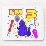 3ro Cumpleaños del dinosaurio del cumpleaños Alfombrillas De Ratón