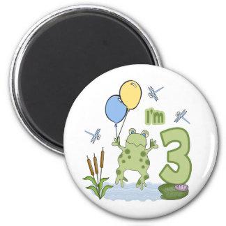 3ro cumpleaños del Froggy Imanes De Nevera