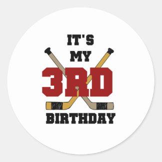 3ro cumpleaños del hockey etiqueta redonda