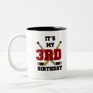 3ro cumpleaños del hockey taza de café de dos colores
