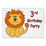 3ro cumpleaños del león lindo tarjetas