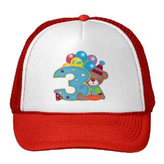 3ro Cumpleaños del oso del payaso del cumpleaños Gorros Bordados