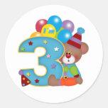 3ro Cumpleaños del oso del payaso del cumpleaños Pegatina Redonda