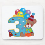 3ro Cumpleaños del oso del payaso del cumpleaños Tapete De Ratón