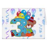 3ro Cumpleaños del oso del payaso del cumpleaños Tarjeta De Felicitación
