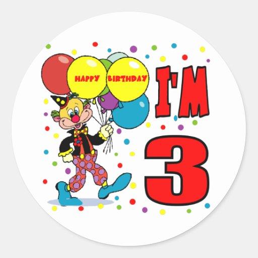 3ro Cumpleaños del payaso del cumpleaños Pegatina Redonda