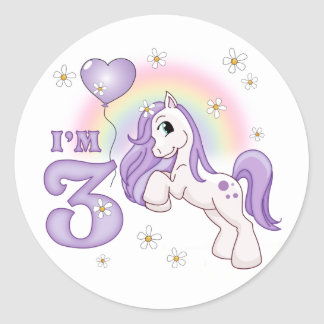 3ro cumpleaños del potro bonito etiqueta redonda