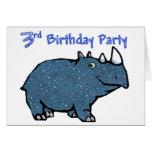 3ro cumpleaños del rinoceronte azul felicitaciones