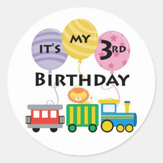 3ro Cumpleaños del tren del cumpleaños Pegatina Redonda