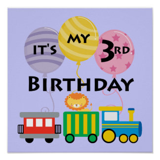 3ro Cumpleaños del tren del cumpleaños Póster