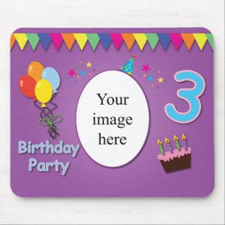 3ro cumpleaños feliz Mousepad con su foto Tapete De Ratón