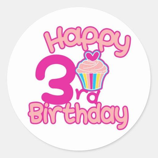 ¡3ro cumpleaños feliz! pegatina redonda