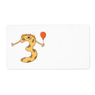 3ro Cumpleaños. Historieta amarilla del monstruo d Etiqueta De Envío