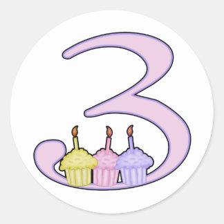 3ro Cumpleaños Pegatinas Redondas