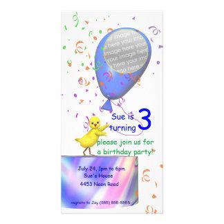 3ro El pollo de la fiesta de cumpleaños invita al  Tarjeta Con Foto Personalizada