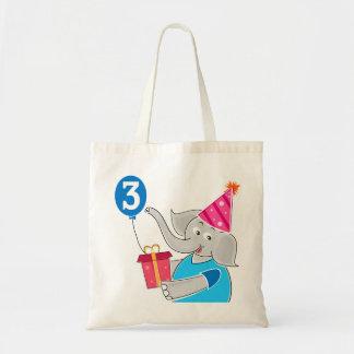 3ro Elefante del cumpleaños Bolsa