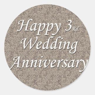 3ro feliz Aniversario de boda Etiquetas