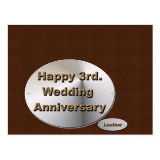 3ro feliz Aniversario de boda Tarjetas Postales