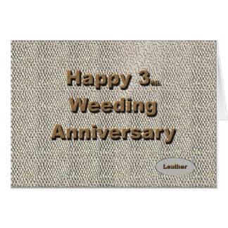 3ro feliz Aniversario de boda Tarjeton