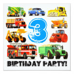 3ro fiesta de cumpleaños de los camiones grandes invitación 13,3 cm x 13,3cm