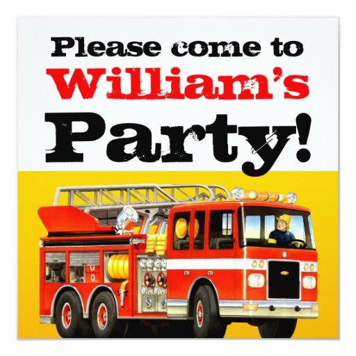 """3ro fiesta del coche de bomberos del cumpleaños invitación 5.25"""" x 5.25"""""""