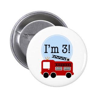 3ro Firetruck del cumpleaños Pin Redondo 5 Cm