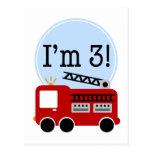 3ro Firetruck del cumpleaños Tarjetas Postales