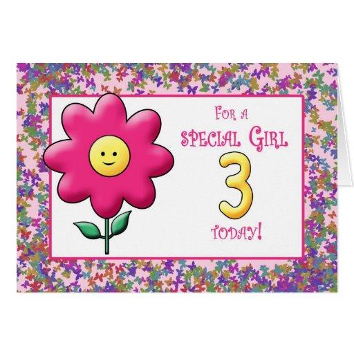 3ro Flor rosada linda y smiley del cumpleaños Tarjeton