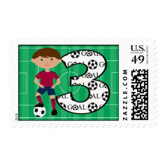 3ro Franqueo rojo y azul del cumpleaños del fútbol Timbre Postal