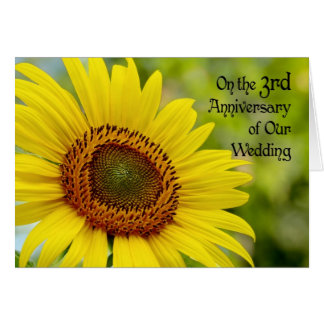 3ro girasol feliz del aniversario de boda felicitaciones