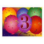 3ro globo colorido del cumpleaños tarjeta postal
