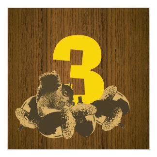 3ro invitación de madera de la fiesta de invitación 13,3 cm x 13,3cm