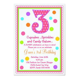 3ro invitación del cumpleaños de la sorpresa dulce