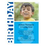 3ro invitación del cumpleaños del panel azul tarjetas postales