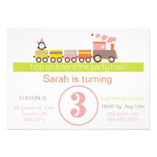 3ro Invitación del tren del cumpleaños chica