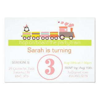 3ro Invitación del tren del cumpleaños (chica)