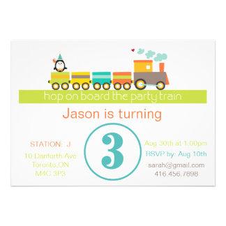 3ro Invitación del tren del cumpleaños muchacho