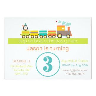 3ro Invitación del tren del cumpleaños (muchacho)