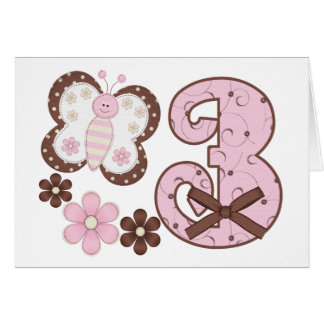3ro invitaciones del cumpleaños de la mariposa ros felicitación
