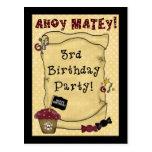 3ro Invitaciones del cumpleaños del pirata Postales
