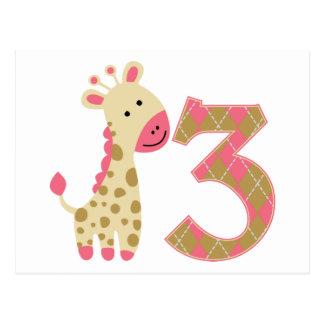 3ro Jirafa rosada del cumpleaños Postales