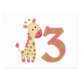 3ro Jirafa rosada del cumpleaños Tarjetas Postales