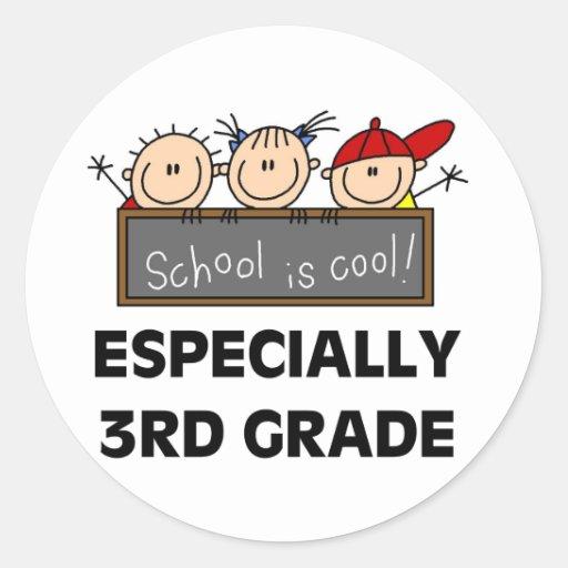 3ro La escuela primaria es fresca Pegatina Redonda