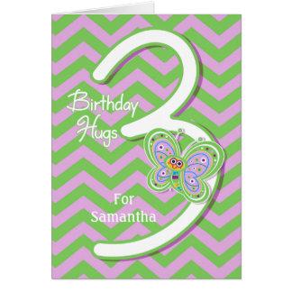 3ro La mariposa del cumpleaños abraza personalizad Tarjeton