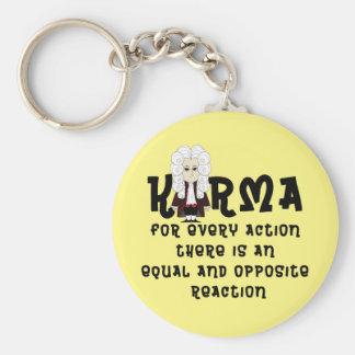 3ro law-V2 de las karmas y de Newton (fondo Llavero Redondo Tipo Pin