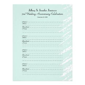3ro Libro de visitas de la fiesta de aniversario Plantilla De Membrete