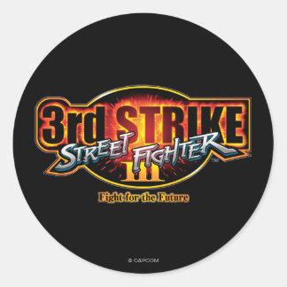 3ro logotipo de la huelga de Street Fighter III Pegatina Redonda