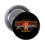 3ro logotipo de la huelga de Street Fighter III Pin Redondo De 2 Pulgadas